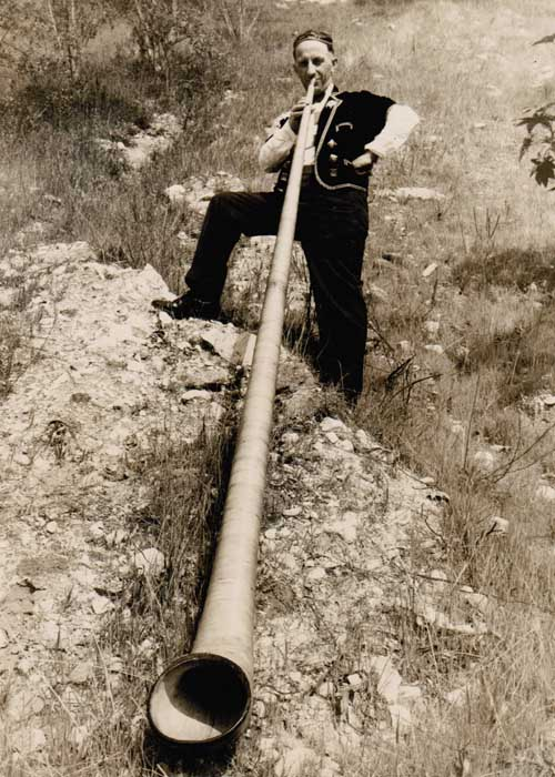 Papa With 12-foot Alpenhorn, 1932