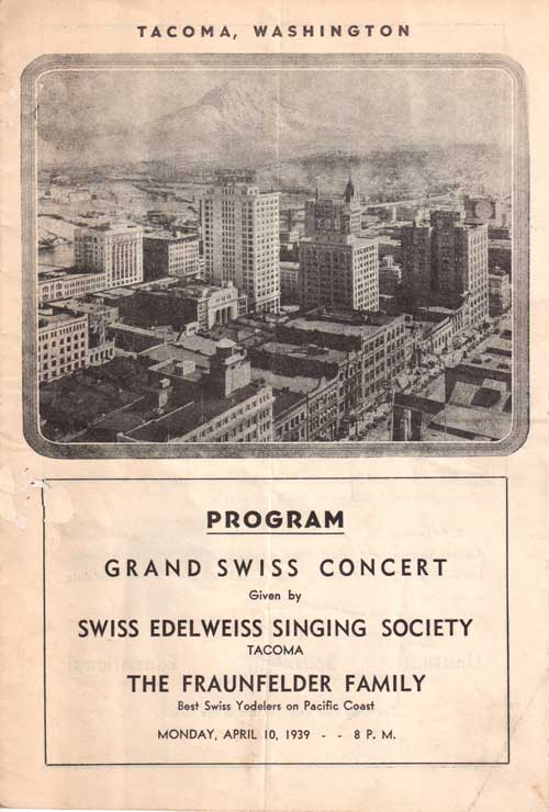 Fraunfelders at Swiss Grand Concert, Tacoma, 1939